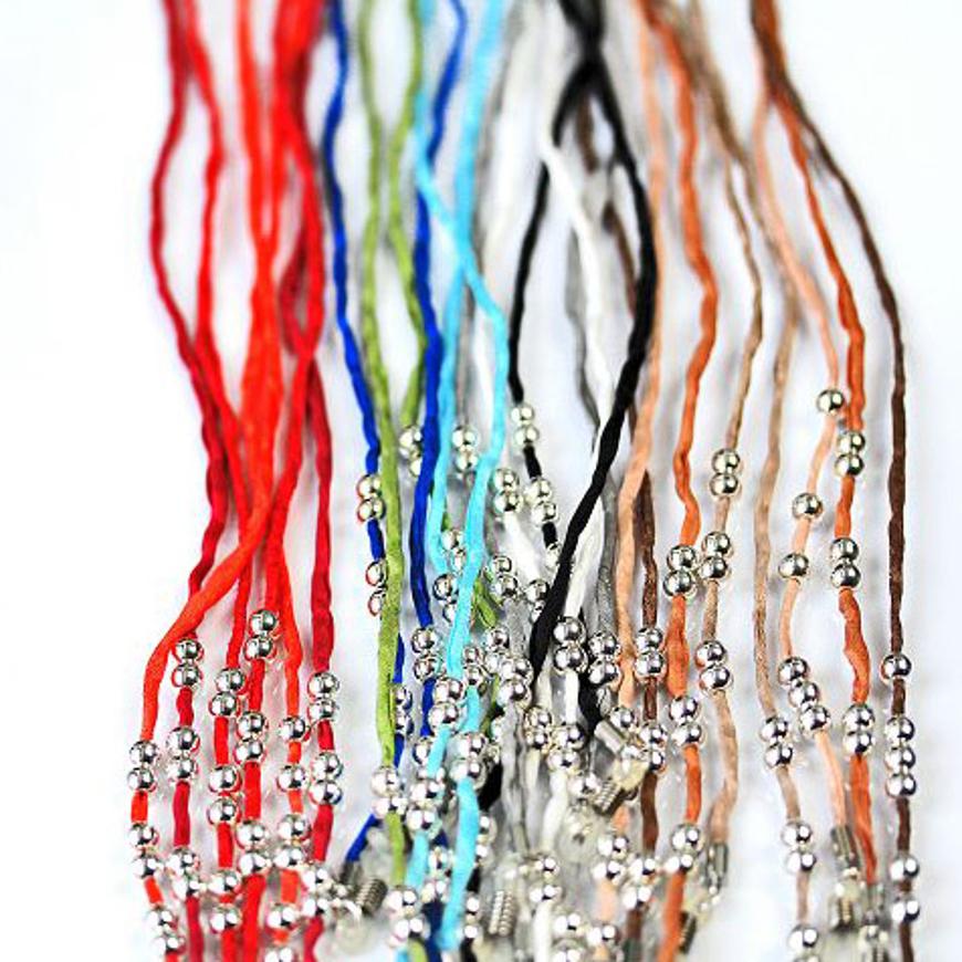 Picture of Brillenkette MaTina aus 100 % Seide, gelb, 12 versilberte Perlen, 1 Stück