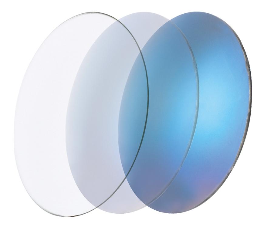 Picture of CR39 photochromatische Gläser, blau verspiegelt, 5-65 %, Ø 70 mm, 1 Paar