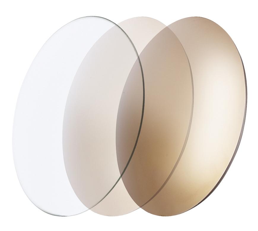 Picture of CR39 photochromatische Gläser, gold verspiegelt, 5-65 %, Ø 70 mm, 1 Paar