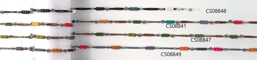 Picture of Brillenkette aus Holz, silber/rot/braun/grau, 1 Stück