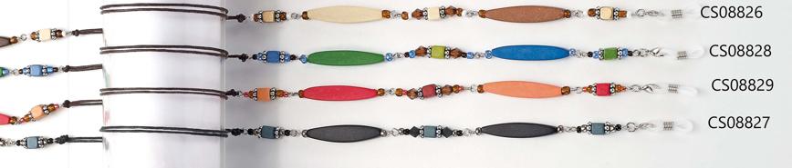 Picture of Brillenkette aus Holz + Perlen, eliptisch rot/pink, 1 Stück