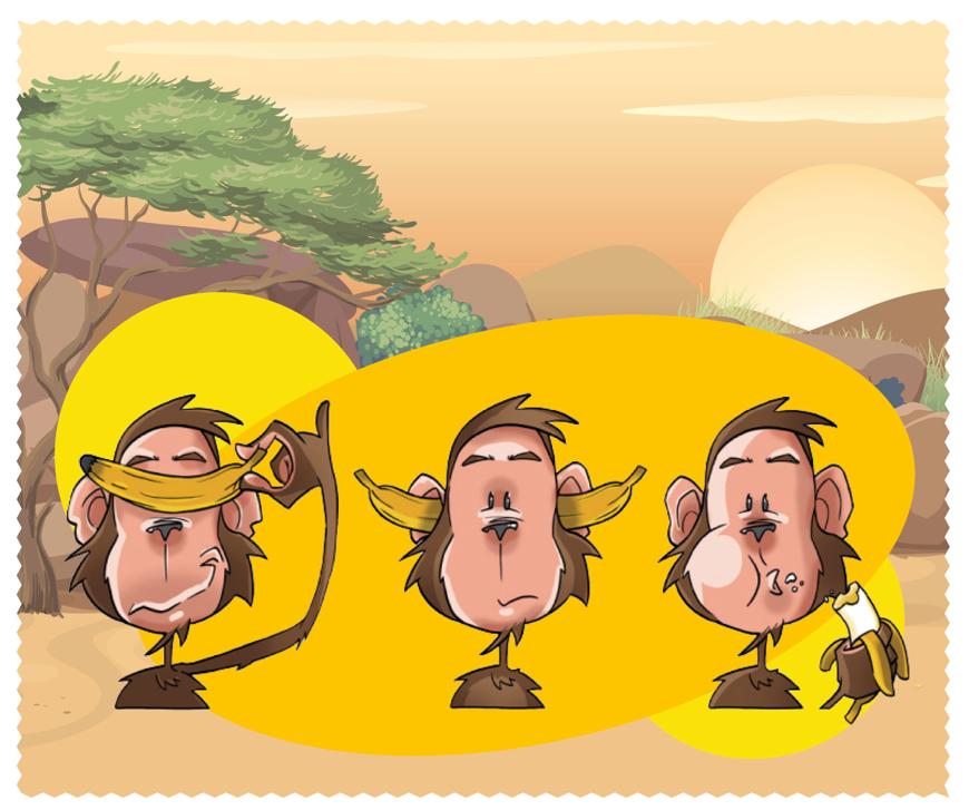 """Bild von Macroclean Microfasertuch """"Cartoon Affen"""", 15 x 18 cm, 100 Stück"""